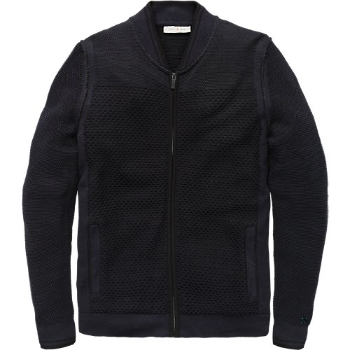 Structure knit zip bomber cardigan