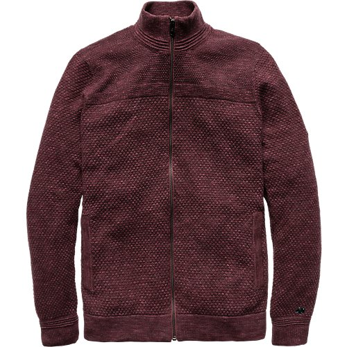 Cotton melange structure zip knit