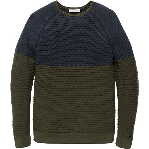 Colour block structure knit pullover