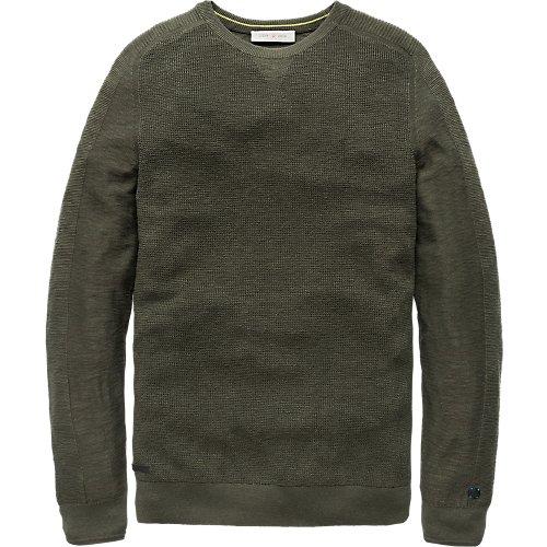 Fine structure knit crewneck pullover