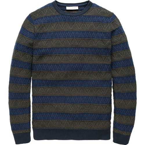 Structure striped crewneck pullover