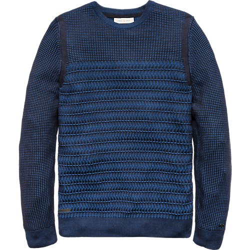 Two tone structure jacquard crewneck pullover