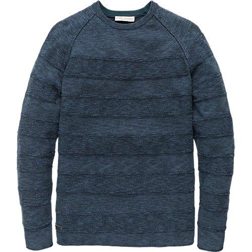 Cotton structure stripe crewneck pullover