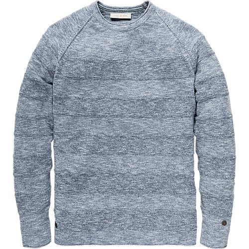 Cotton structure stripe crewneck pullover