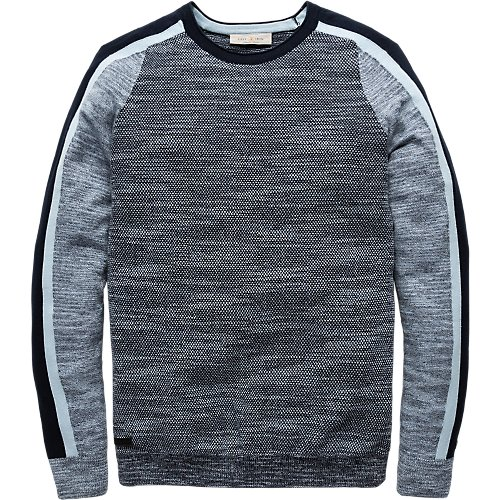 Cotton slub mouline crewneck pullover