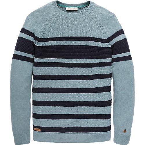 Stripe cotton viscose crewneck pullover