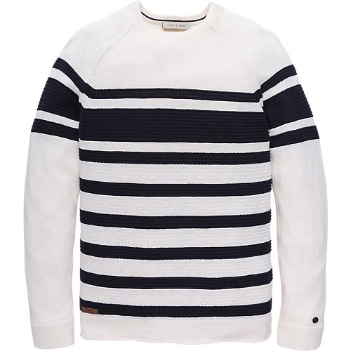 Stripe cotton viscose crewneck pullover
