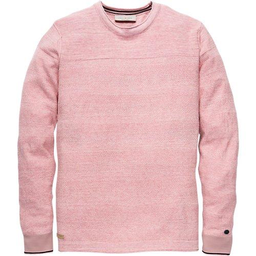 Cotton melange structure knit crewneck pullover