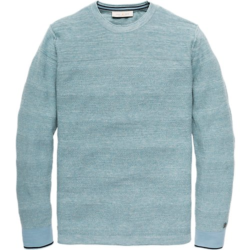Cotton melange structure knit crewneck pullover