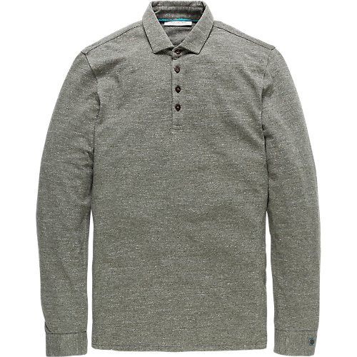 Two tone jersey longsleeve polo