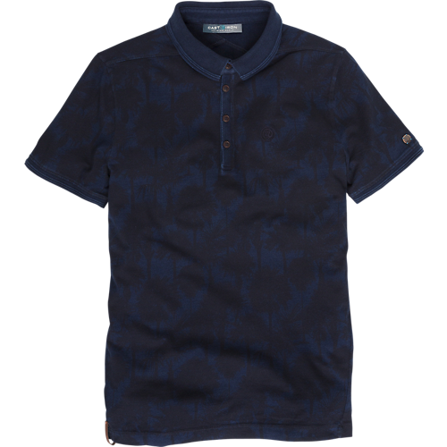 INDIGO PALM PRINT POLO