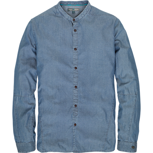 DENIM SHIRT GRANDAD COLLAR