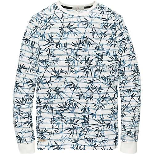 Long sleeve striped artwork T-shirt