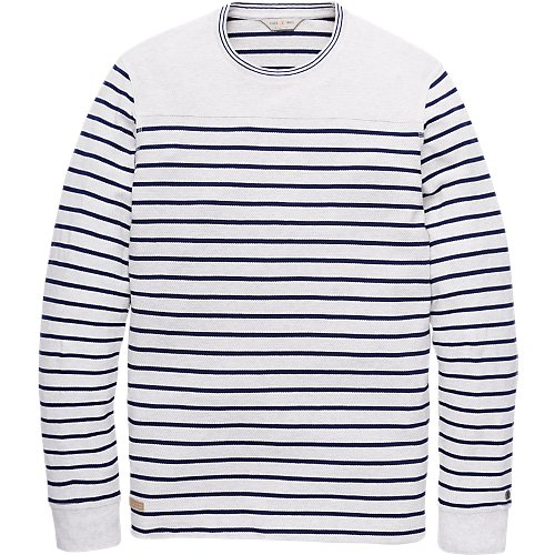 Popcorn Jacquard Striped Crewneck