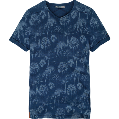INDIGO PALM PRINT T-SHIRT
