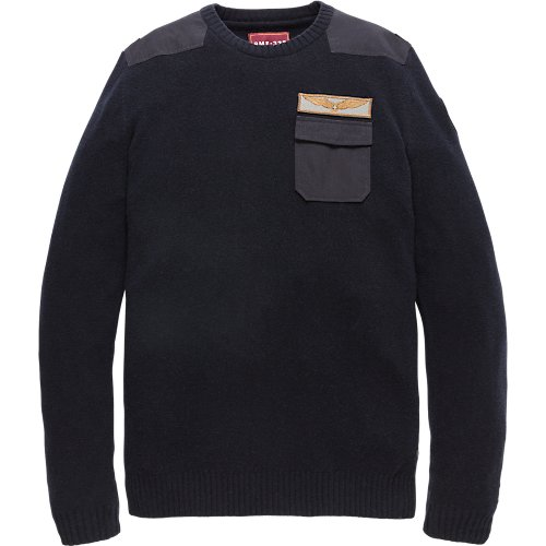 Merino Felted crewneck with woven details