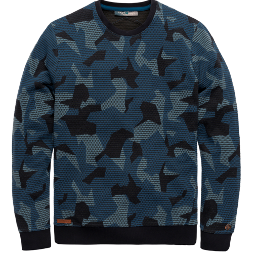 Jacquard cammo crew neck sweat